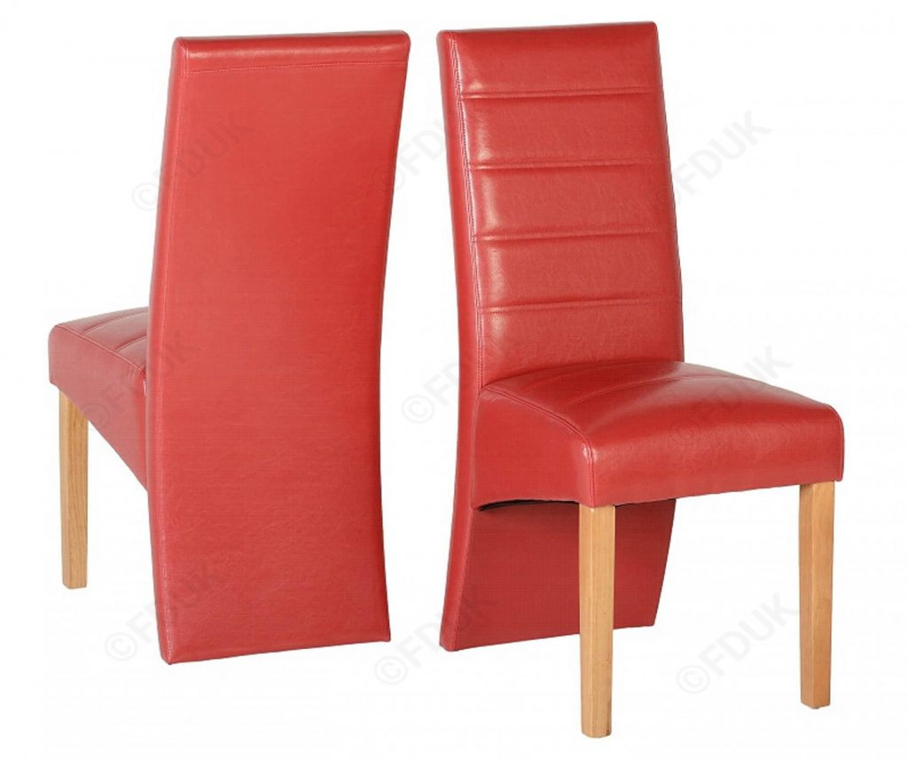 Seconique G5 Red Faux Leather Dining Chair In Pair
