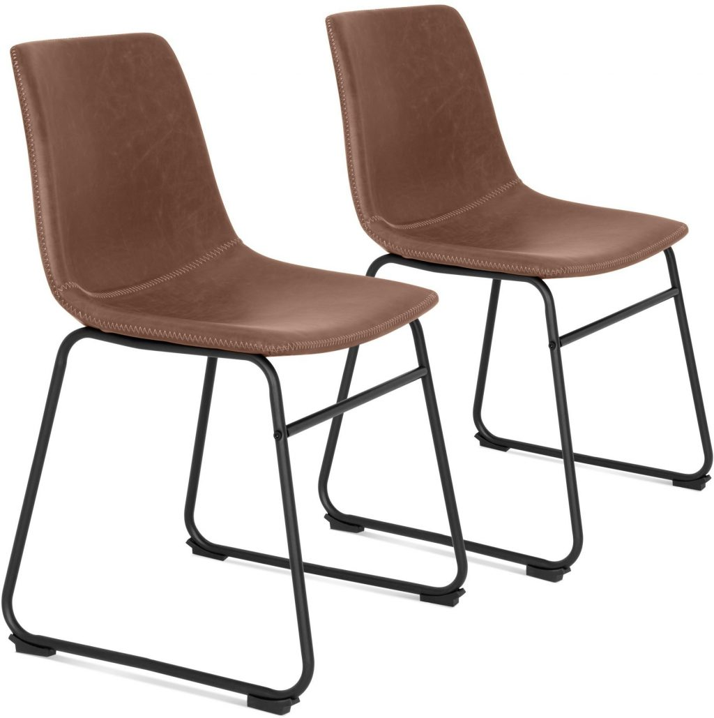Set Of 2 Distressed Faux Leather Dining Chairs W Metal Frame Ebay