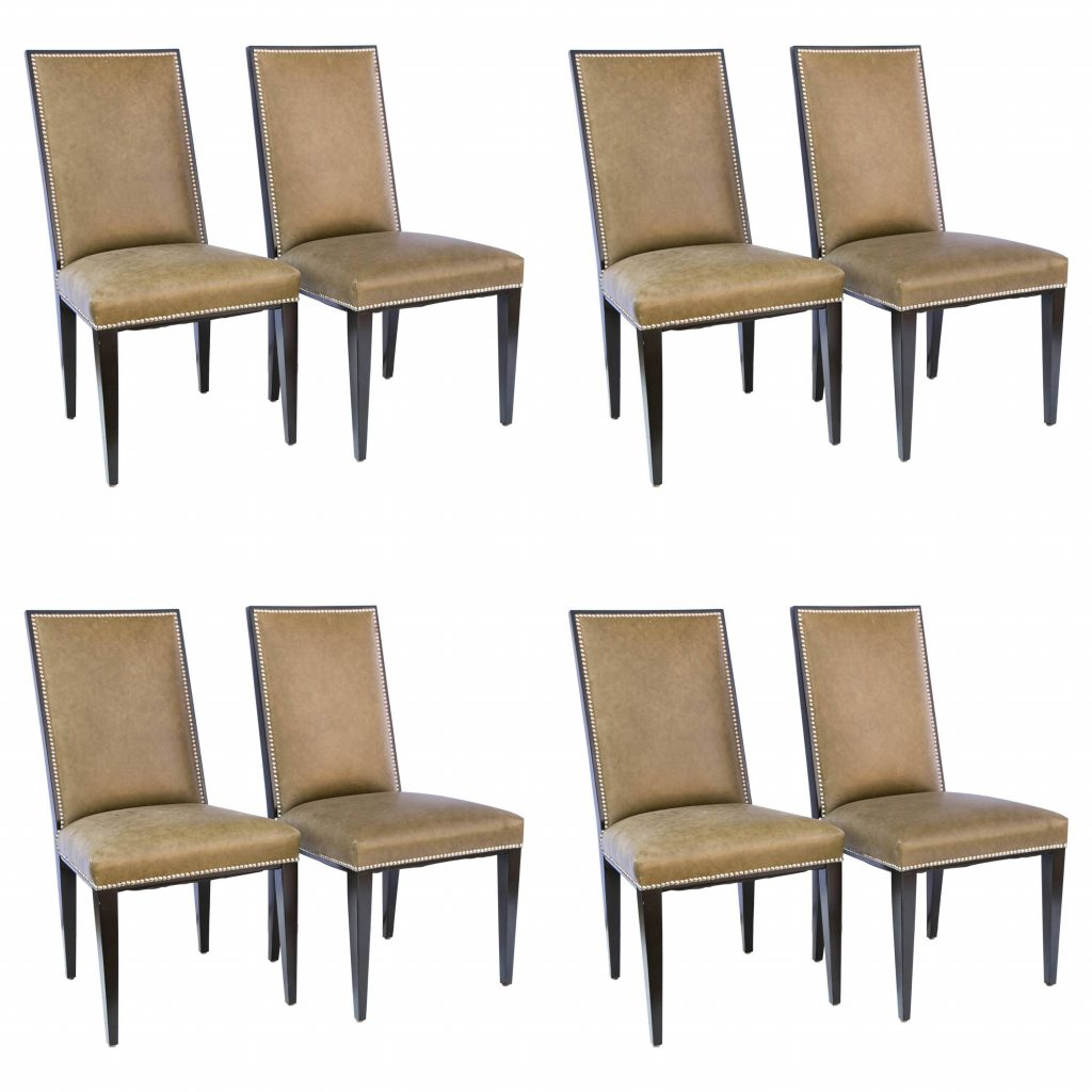 Set Of Eight Modern Taupe Green Leather Dining Chair Style Of Ralph