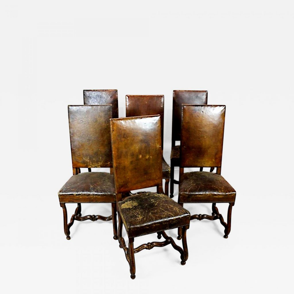 Set Of Six 19th Century Hand Carved Walnut And Distressed Leather