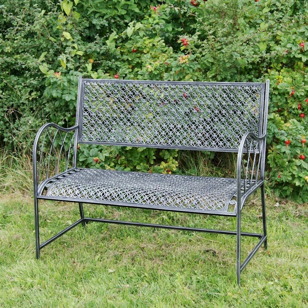 Shab Chic Garden Bench Black Metal Bench Garden Chair Outdoor Seat