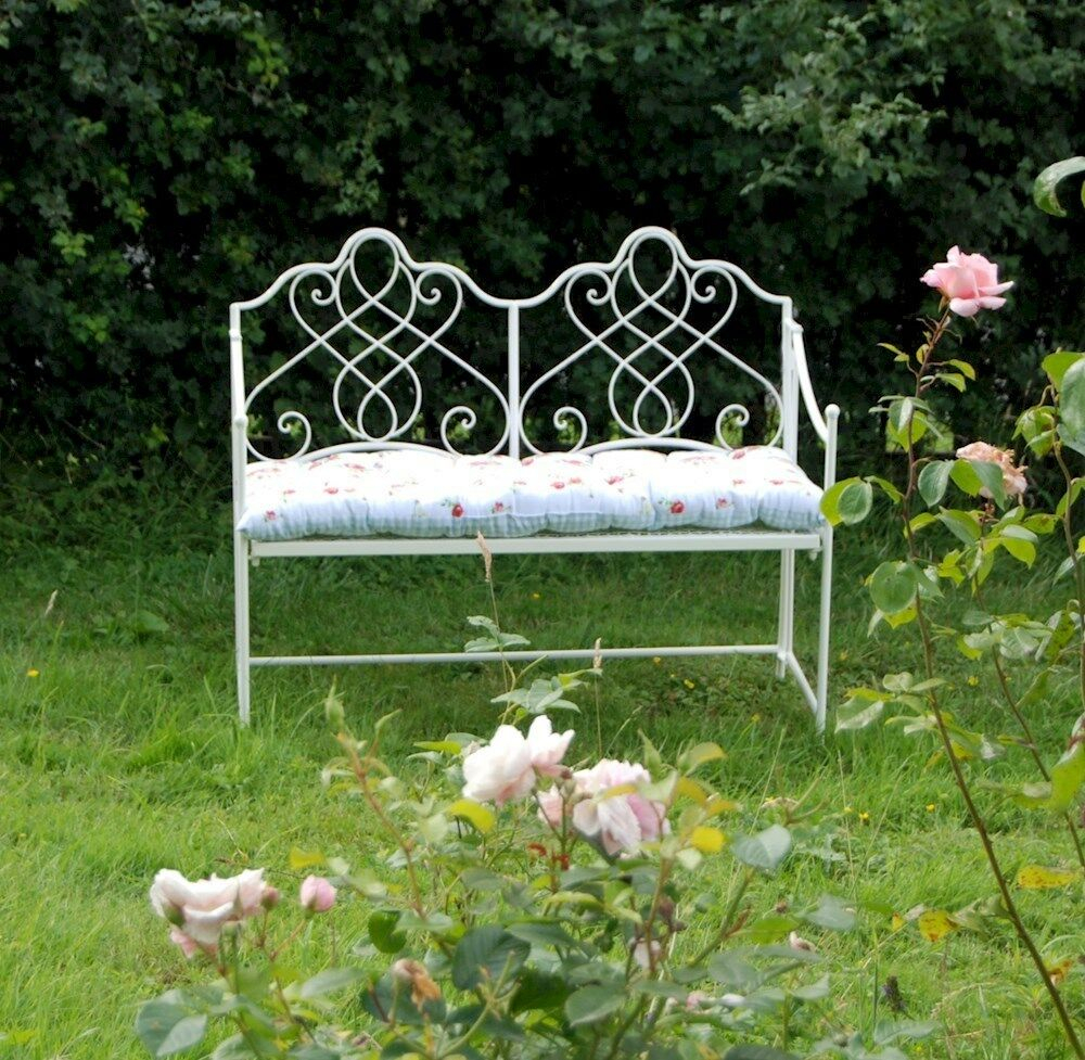 Shab Chic Metal Garden Bench 2 Colours Garden Set Metal Garden