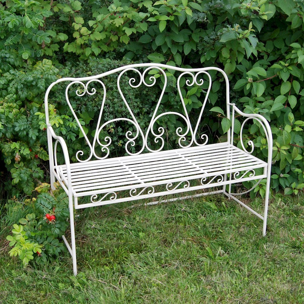Shab Chic Metal Garden Bench With Hearts Savvysurfcouk