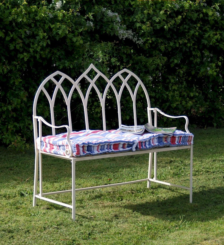 Shab Chic Rustic Garden Bench Gothic Blue Or Cream Savvysurfcouk