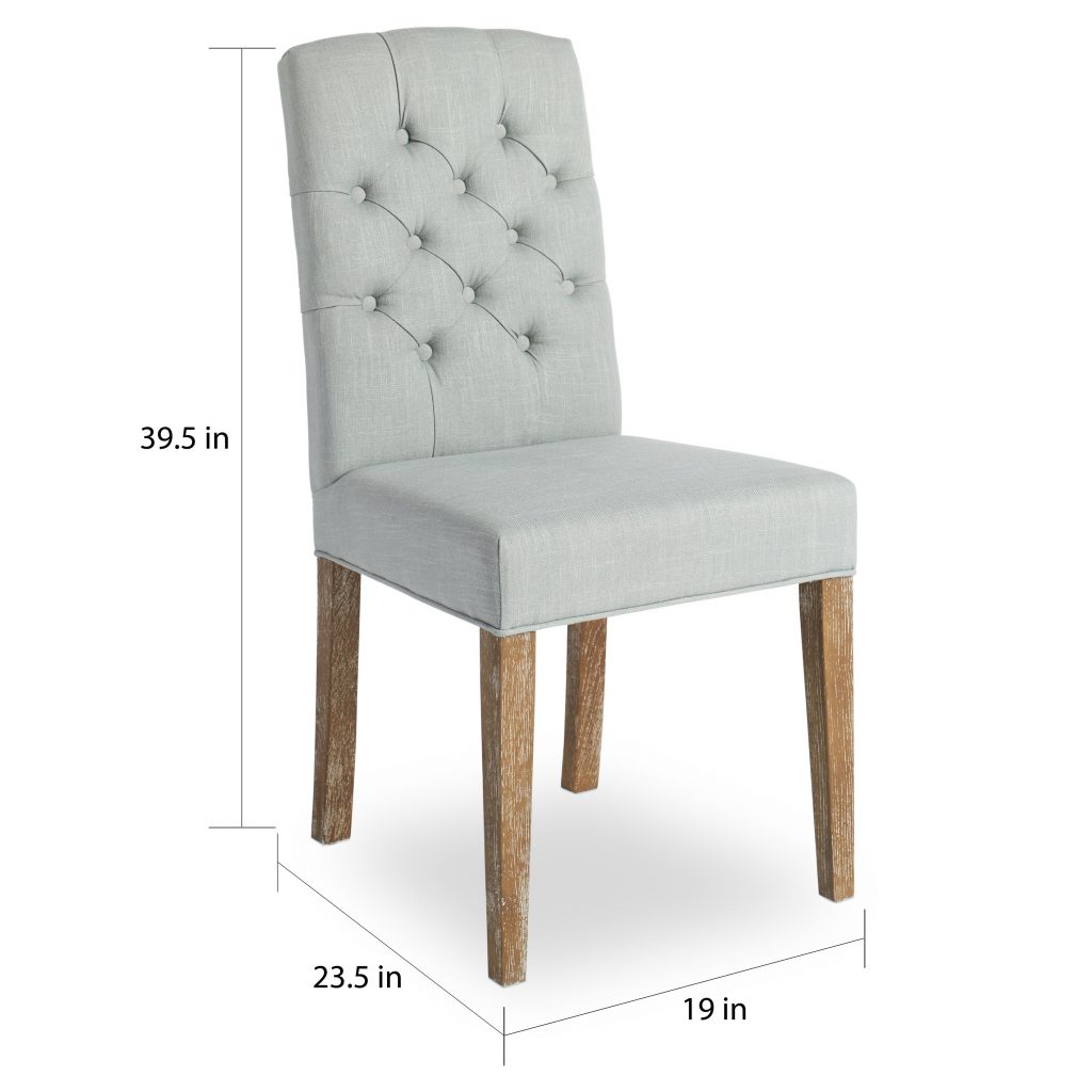 Shop Abson Colin Seafoam Blue Linen Tufted Dining Chair On Sale
