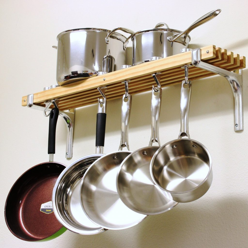 Shop Cooks Standard Wall Mounted Wooden Pot Rack 36 8 Inch