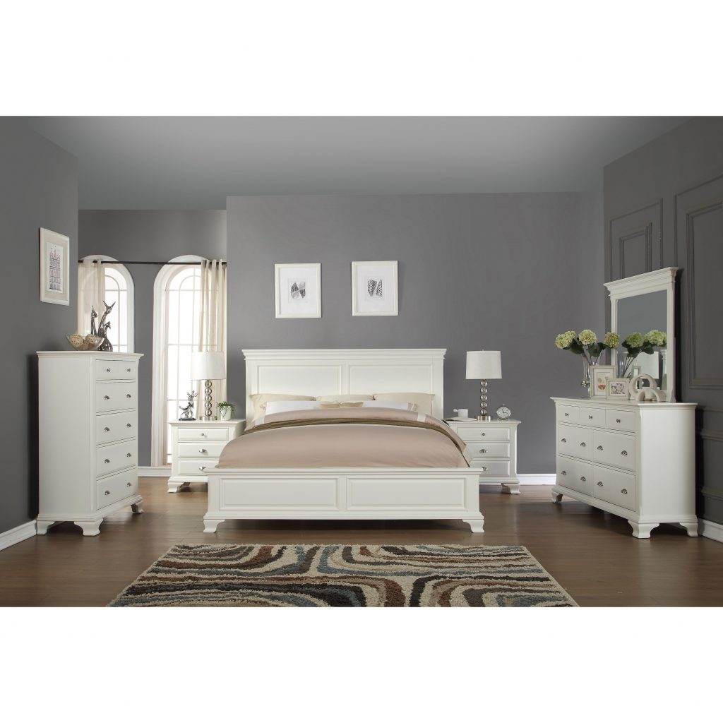 Shop Laveno 012 White Wood Bedroom Furniture Set Includes King Bed
