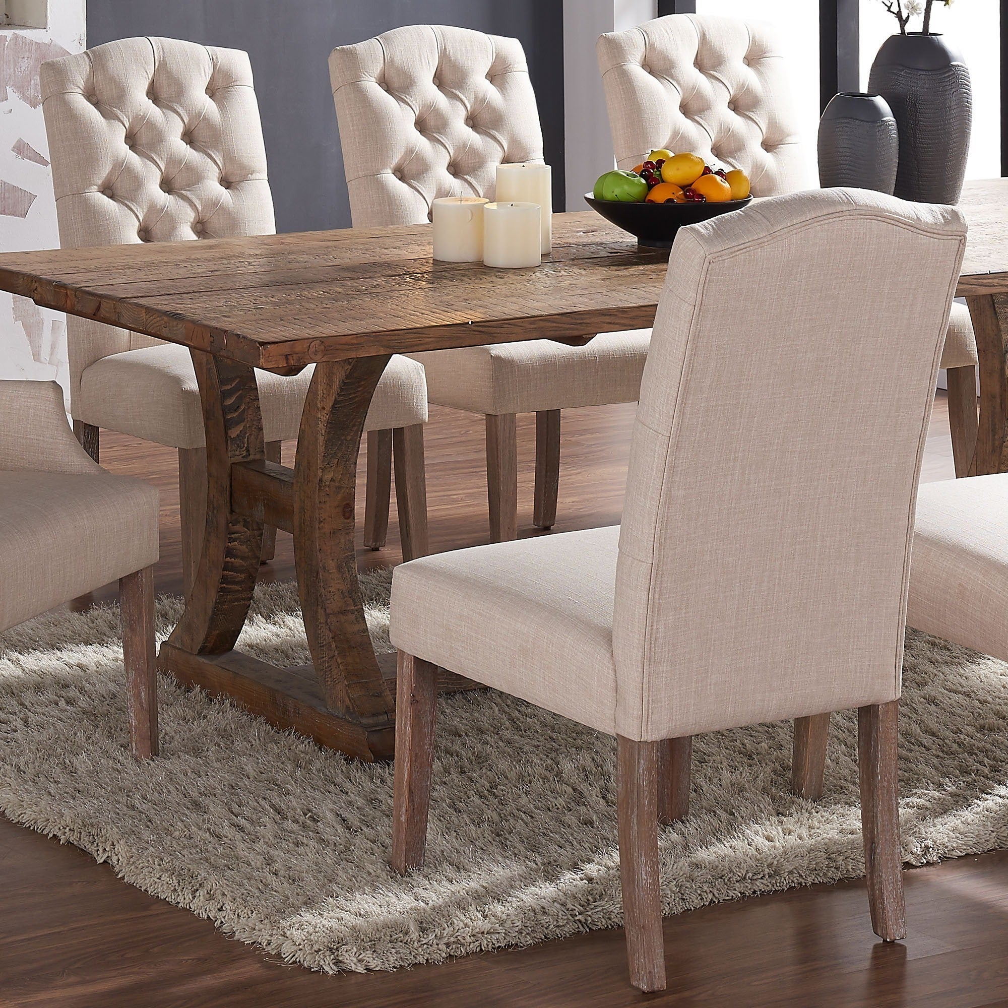 Shop Lucian Set Of 2 Linen Button Tufted Dining Chairs Free