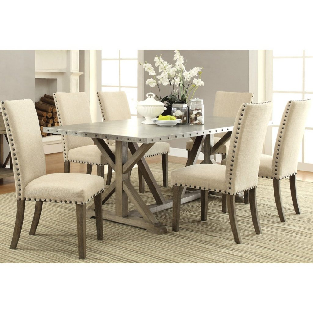 Shop Rosemarin Transitional Driftwood And Metal Dining Set Free