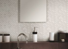 White Glass Tile Bathroom