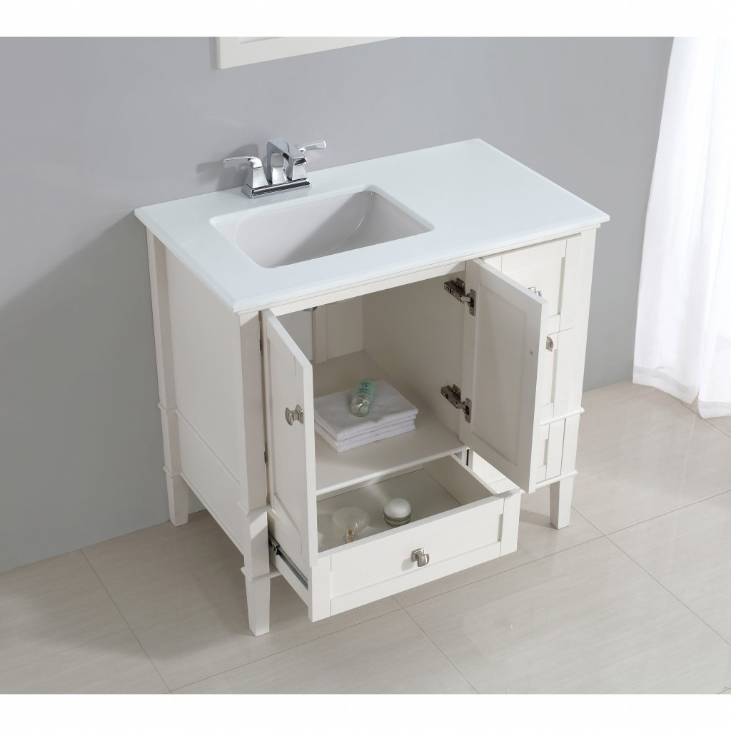 Shop Windham 36 Inch Left Offset Bath Vanity In Soft White With