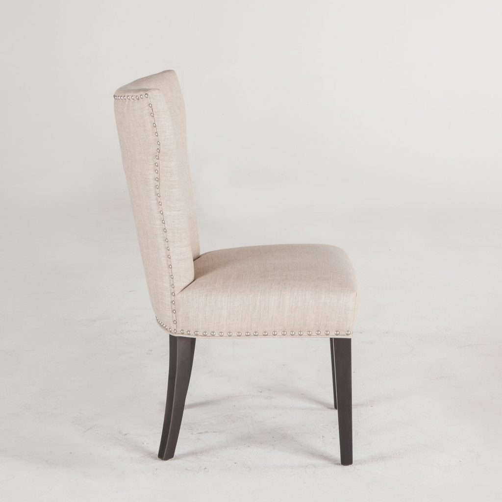 Shop World Interiors Set Of Two Beige Dining Chairs With Nailhead