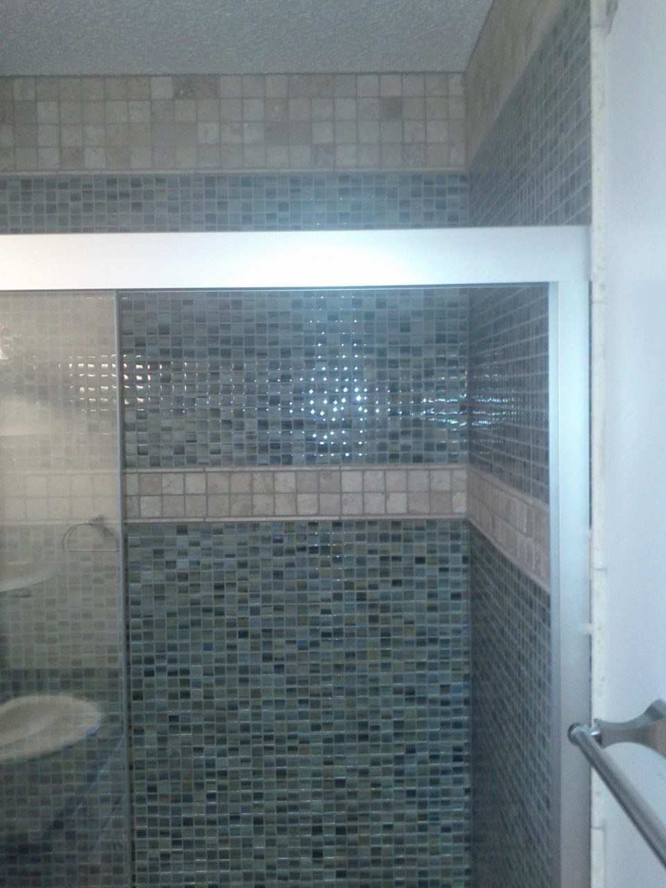 Shower Interior Design With Blue Glass Mosaic Wall Panel 36 X 48