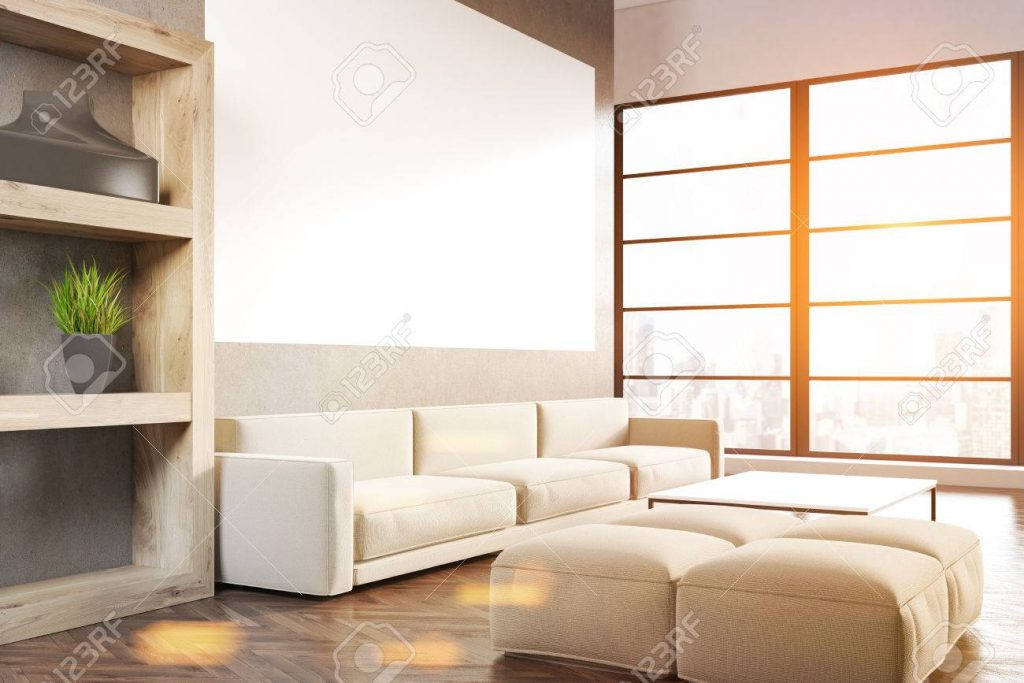 Side View Of A Living Room Interior With A Gray Sofa A Horizontal