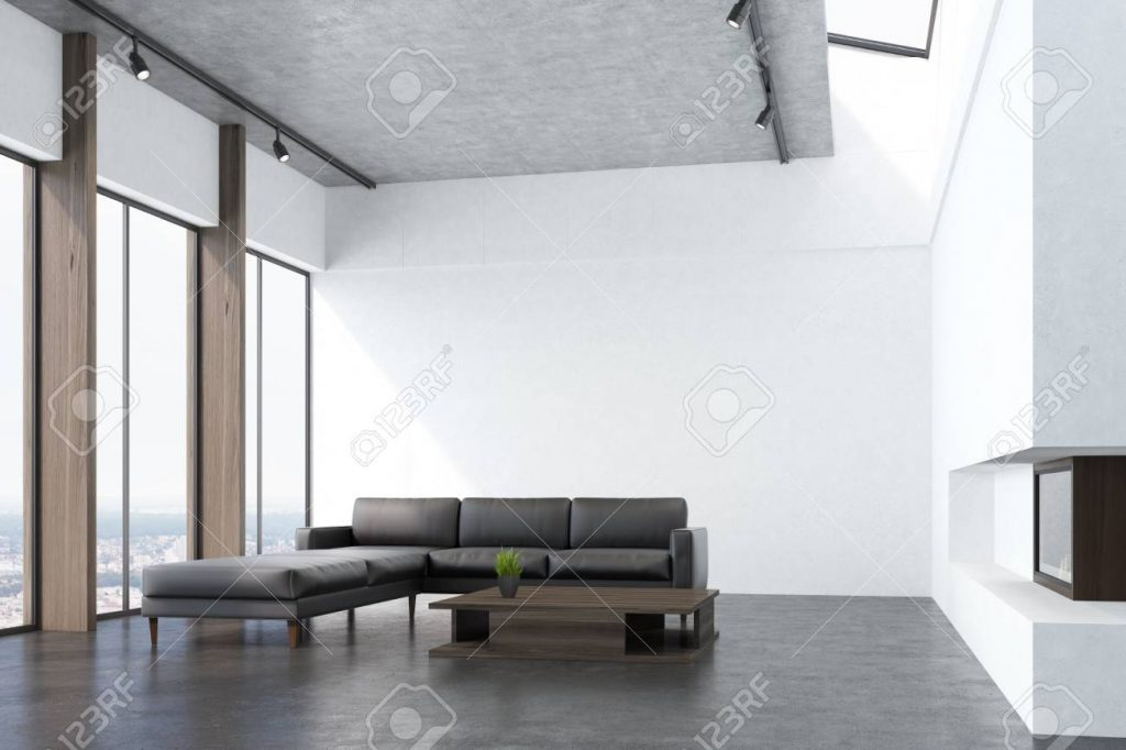 Side View Of A White Living Room Interio With A Concrete Floor