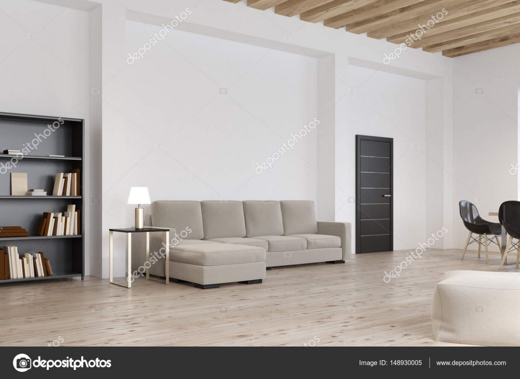 Side View Of Living Room With Gray Sofa Stock Photo