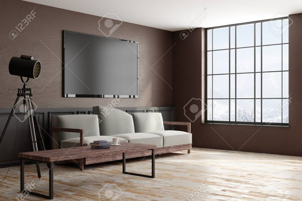 Side View Of Modern Design Style Living Room Interior With Furniture