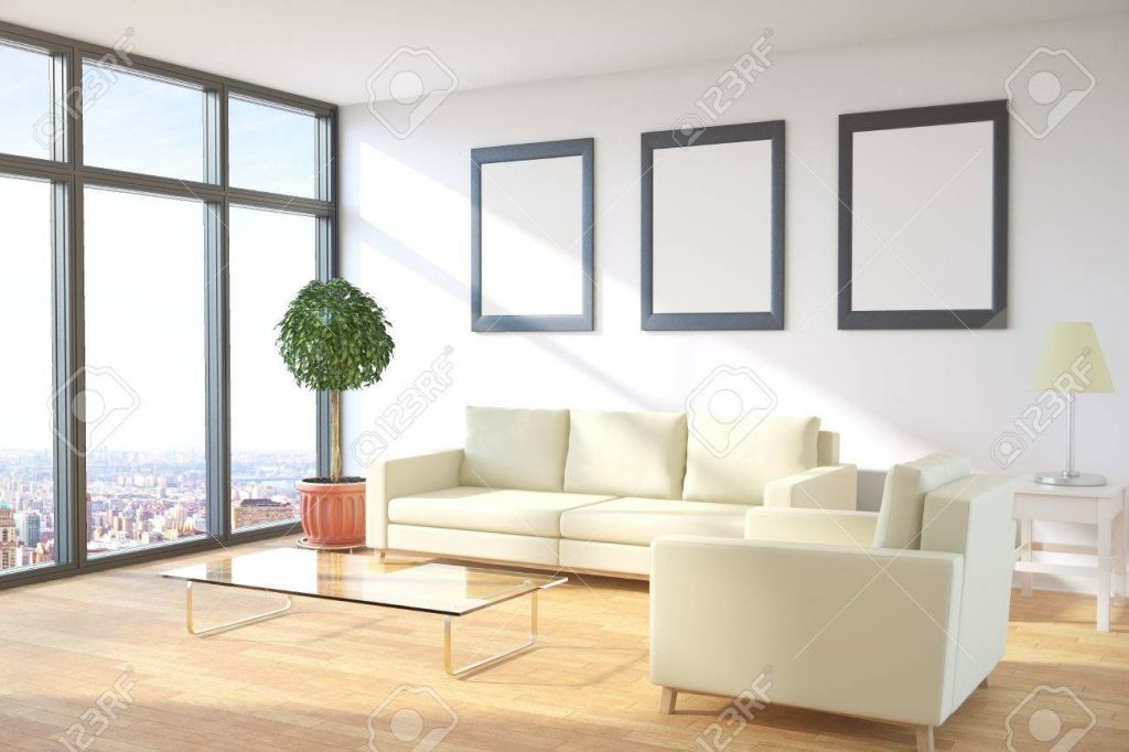 Side View Of Modern Living Room Interior With City View Furniture