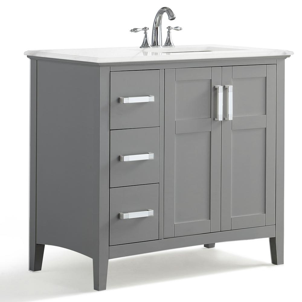 Simpli Home Winston 36 In Right Offset Bath Vanity In Warm Grey