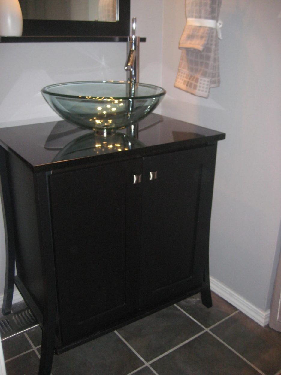 Small Bathroom Sink Ideas Comes With Dark Wooden Laminated Vanity