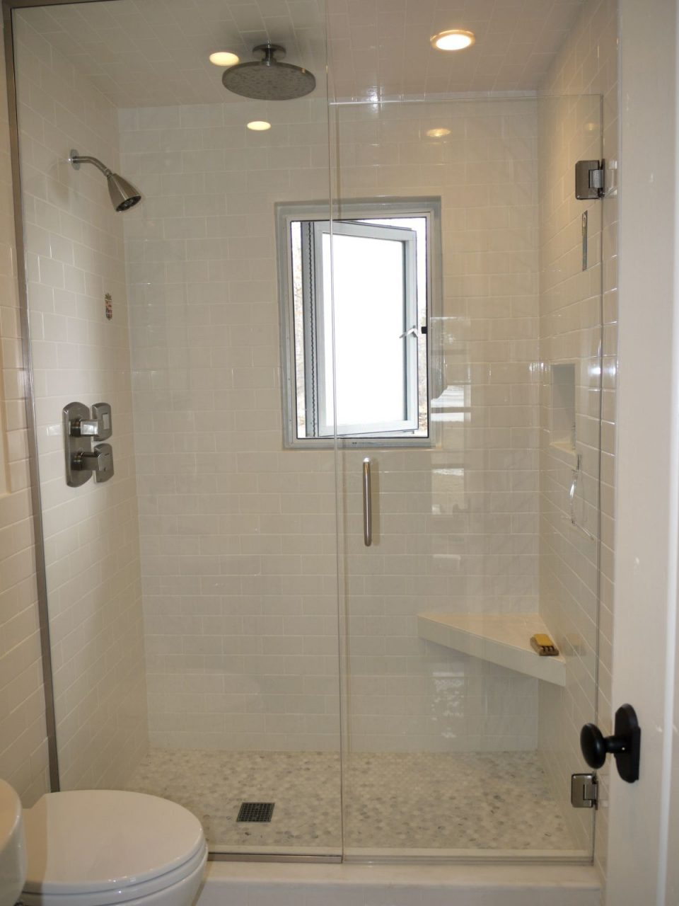 Small Walk In Shower With Window Small Grip Bar And Foot Shelf