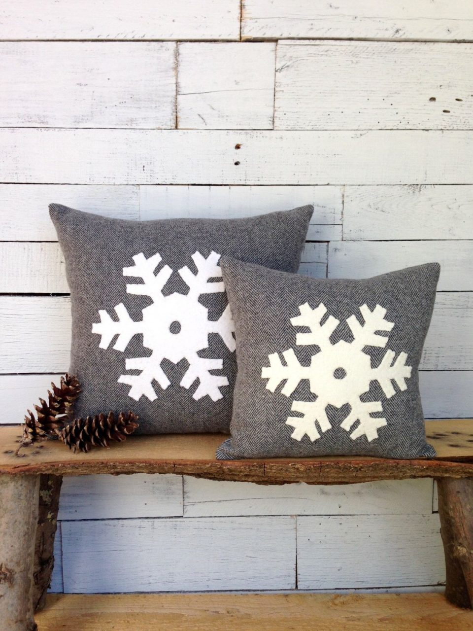 Snowflake Pillow Snowflake Decor Winter Pillow Rustic Home Decor