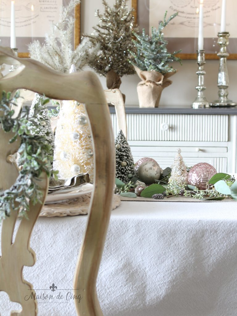 Soft Romantic Christmas Table Setting With Touches Of Blush