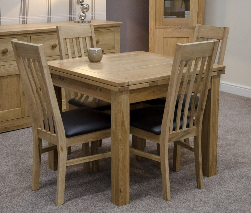 Solid Oak Small Draw Leaf Extending Dining Table Oak Furniture Uk