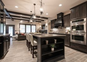 Modern Kitchen Cabinets with Dark Wood