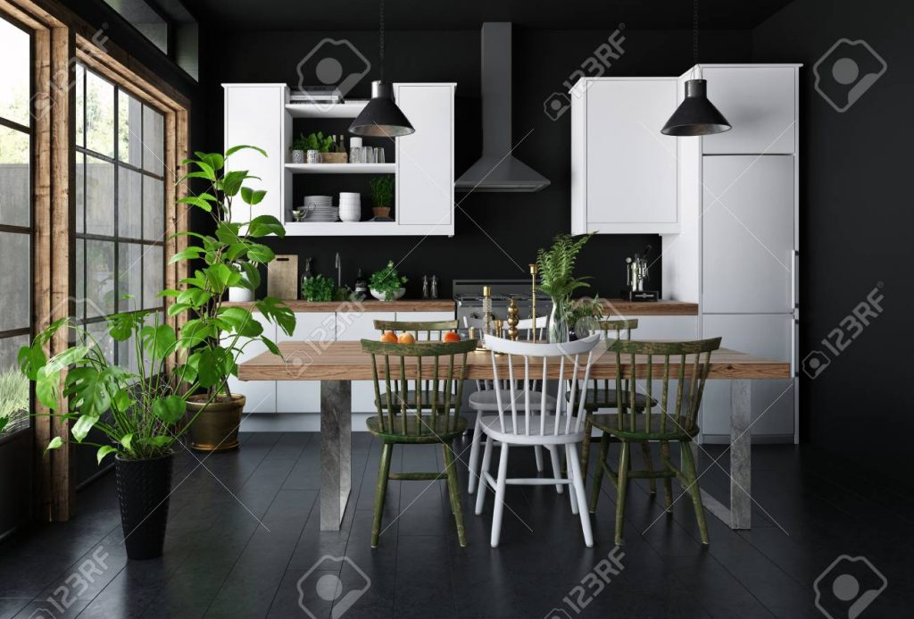 Spacious Kitchen Dark Interior Concept With Dining Table Black