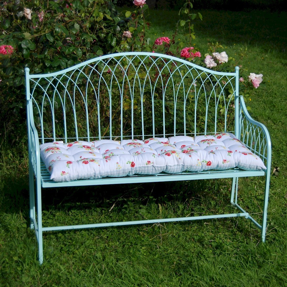 Steel Shab Chic Garden Bench Blue Or Cream Bench Garden Furniture