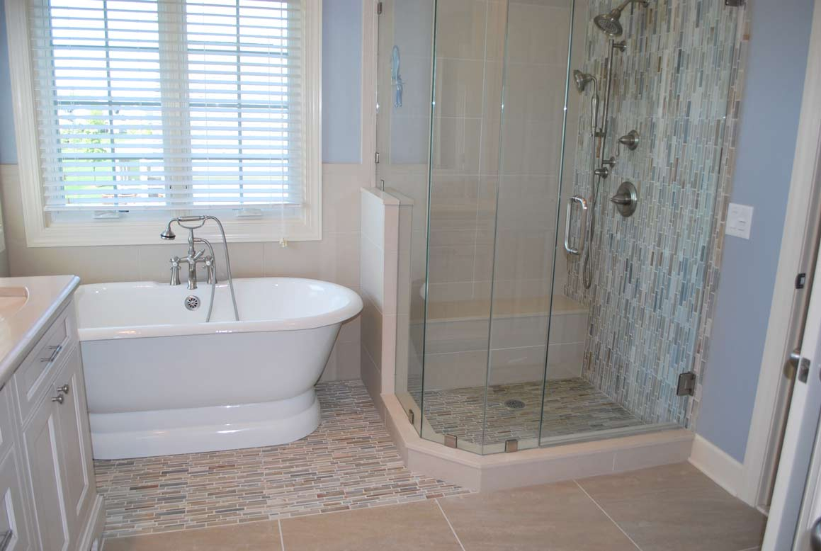 Stone Waterfall Tile Bathroom Remodel In Rochester Ny ...