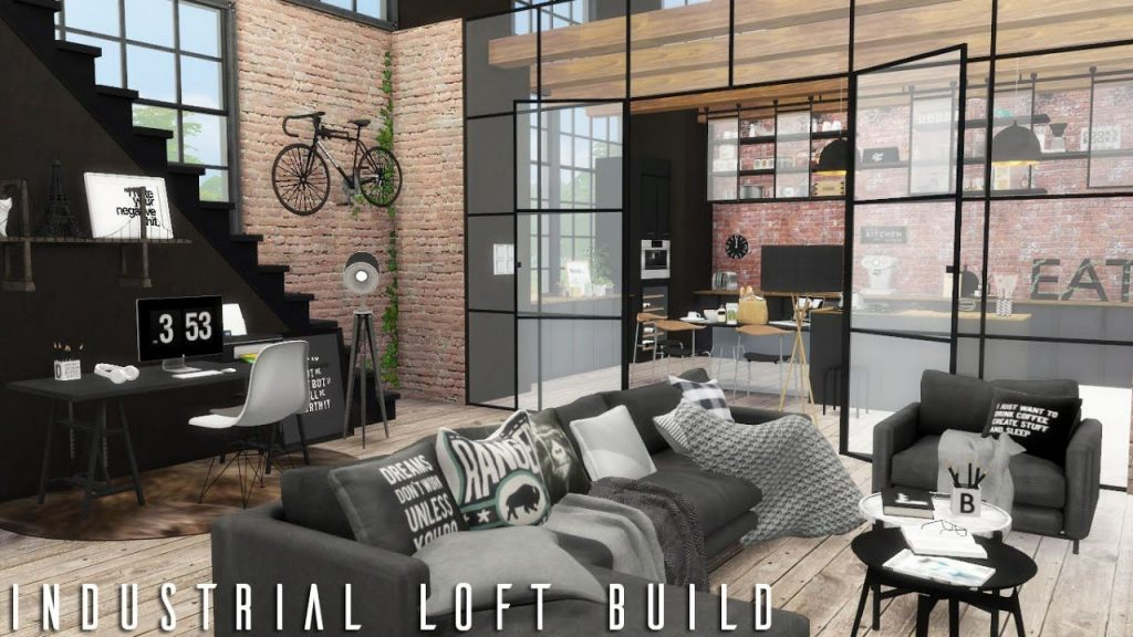 The Sims 4 Industrial Loft Cc Links Build Youtube Sims 4