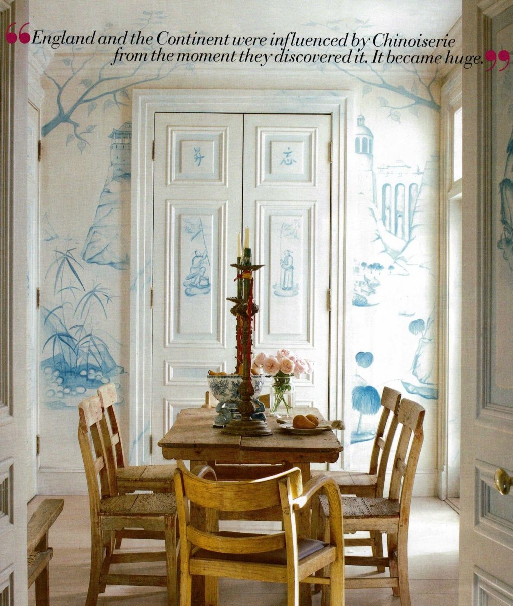 Thomas Britts Hand Painted Blue And White Chinoiserie Walls Blue