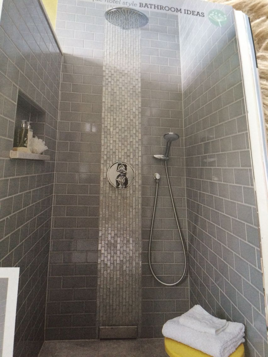 Tile Iridescent Glass Mosaics In A Vertical Strip Behind The Shower
