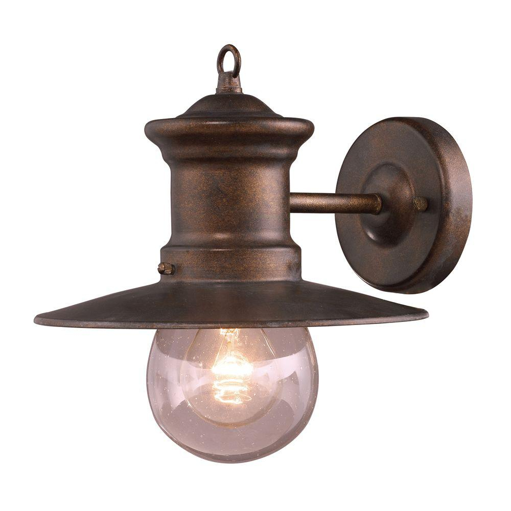 Titan Lighting Maritime 1 Light Outdoor Hazelnut Bronze Wall Sconce