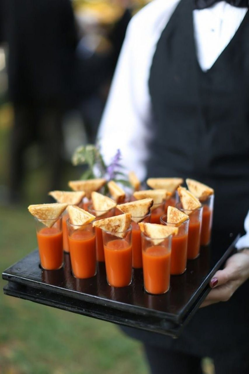 Tomato Soup Shots Outdoor Fall Charlottesville Wedding Reception