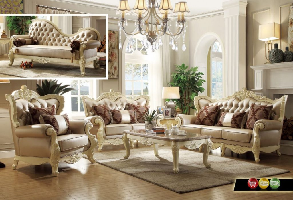Traditional Living Room Set Wpearl Bonded Leather And Antique White