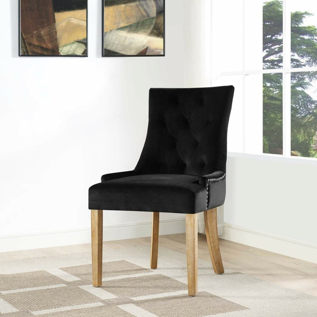 Tufted Black Velvet Upholstered Parsons Dining Side Chair With