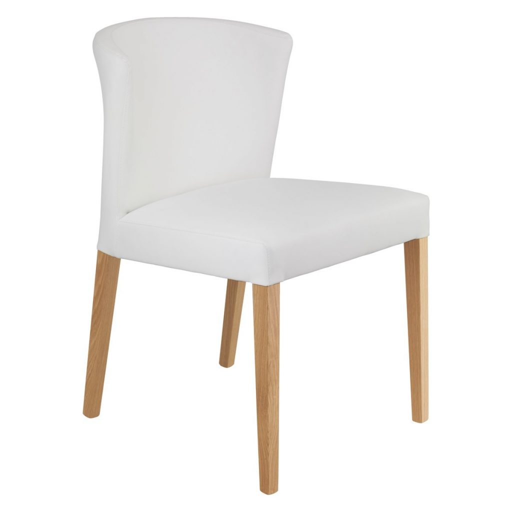 Valentina White Faux Leather Dining Chair With Oak Legs Buy Now At