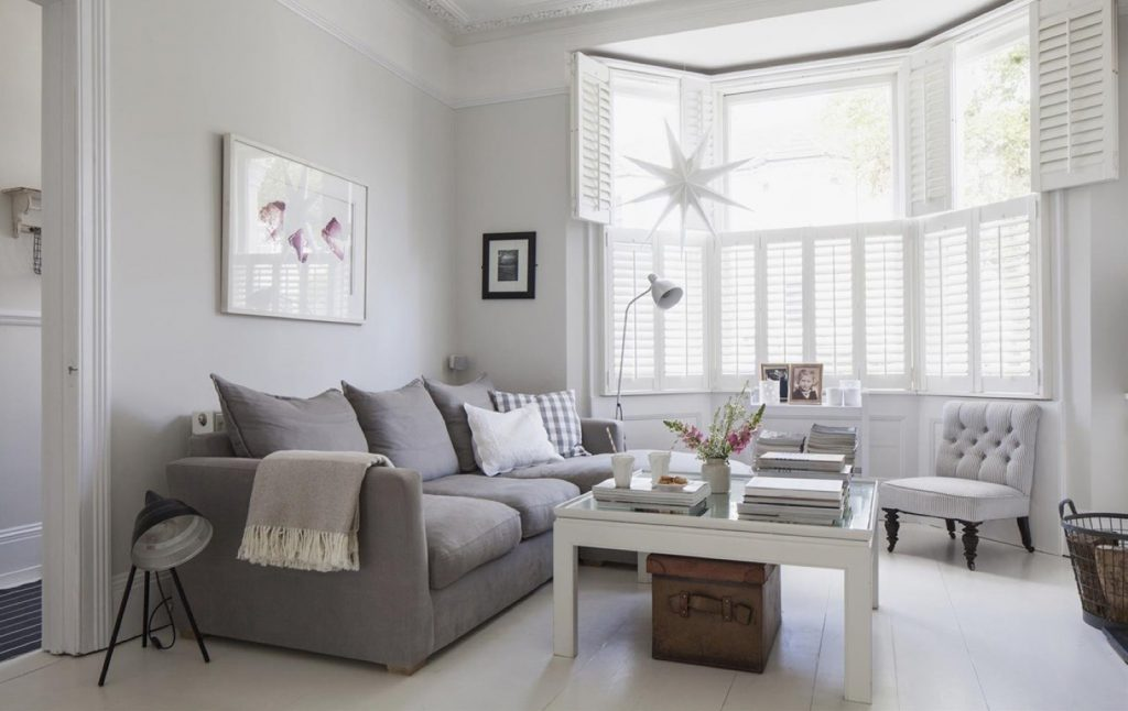 Victorian Terrace Sitting Room Plantation Shutters White Wooden