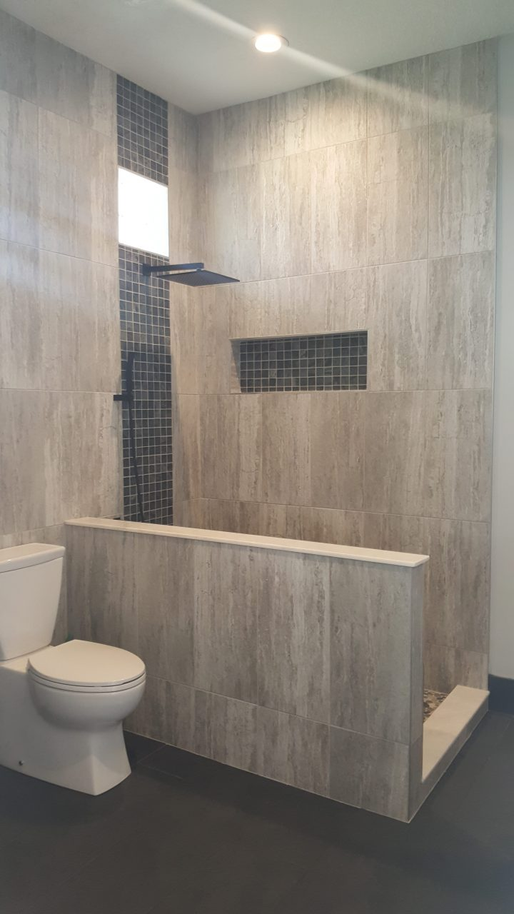 Walk In Shower With Architectural Windows Tile Inset And Over Sized