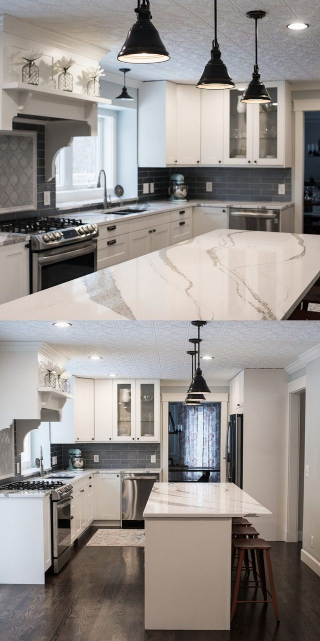Warm Up A Gray And White Kitchen With Natural Wood Accents And Pops