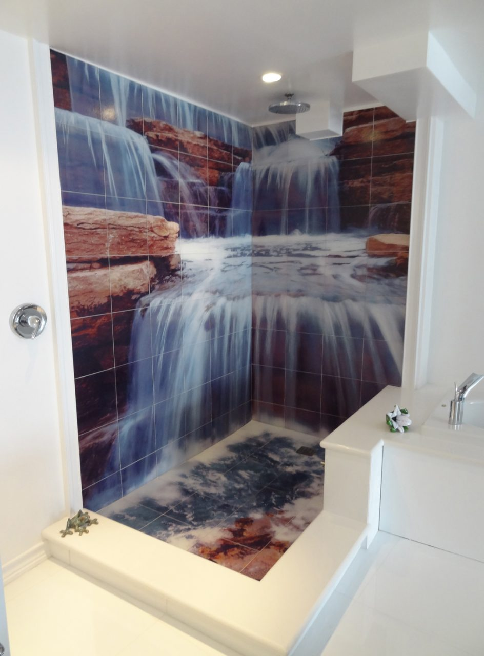 Waterfall Shower Tile Murals Tile Design