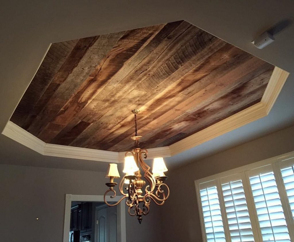 We Installed Our Barn Wood Skins On This Dining Room Tray Ceilings