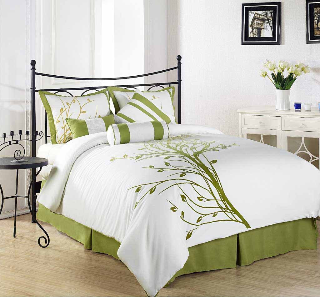 White And Green Modern Bedroom Comforter Sets Decoration