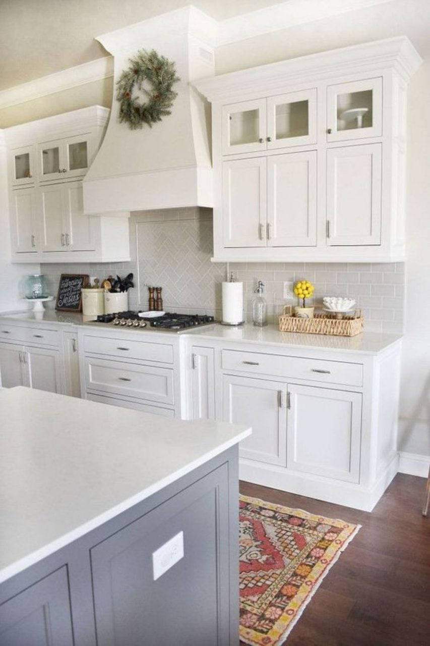White Cabinets With A Contrast Island Maybe A Sage Green Home