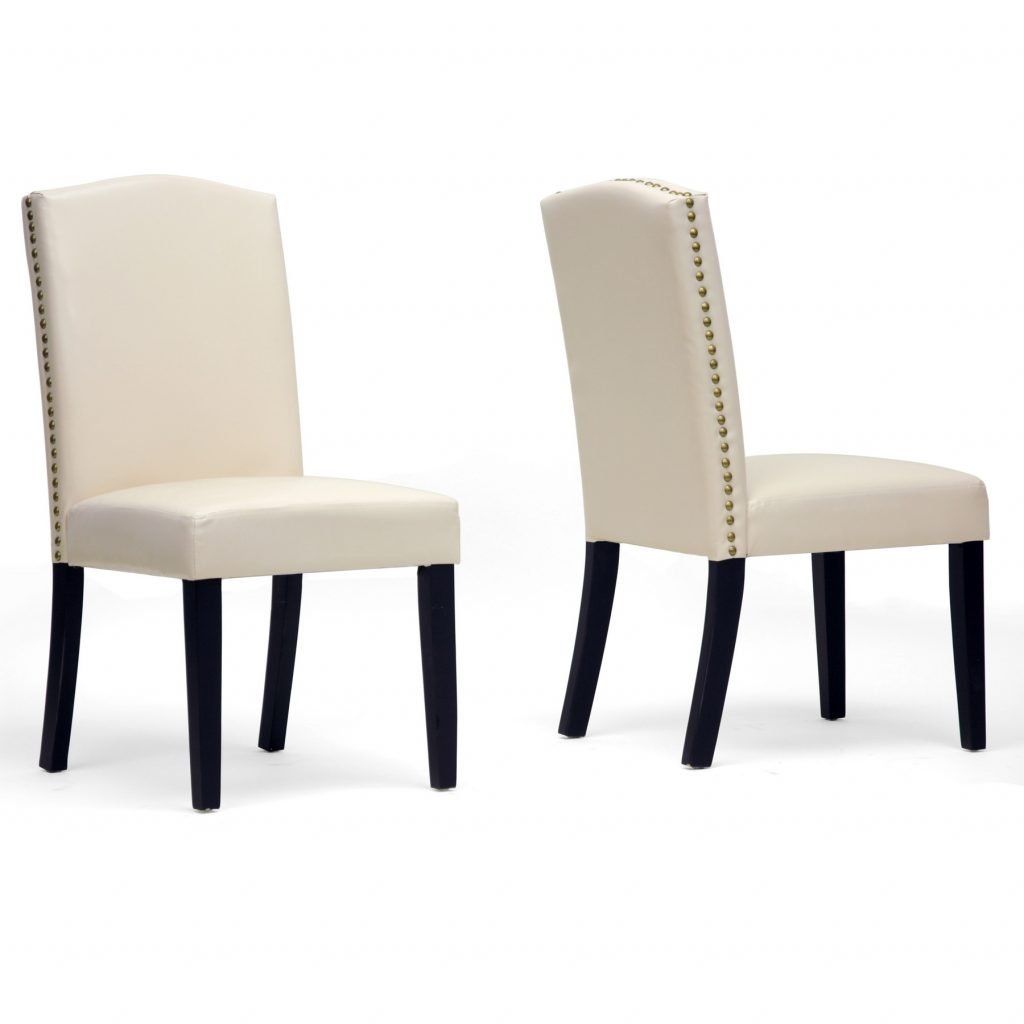 White Leather Chairs With High Back Plus Black Wooden Legs French