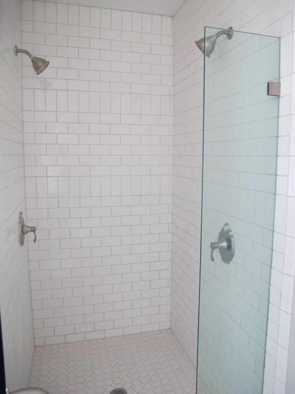 White Subway Tile Bathroom White Subway Tile With Shower Pebble Tile
