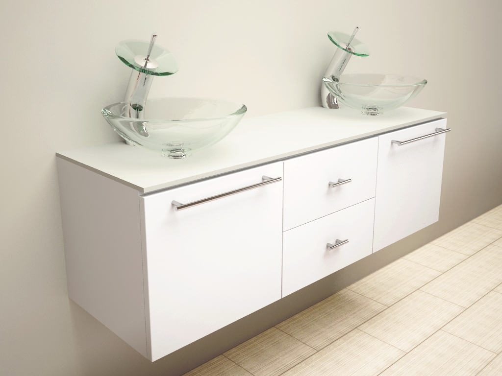 White Wooden Vanity With Drawers Combined With Double Glass Bowl